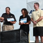 Able Flight Instructor of the Year Lucero Duran receiving her award. (L-R Charles Stites, Bernie Wulle, Duran and John Wensveen.